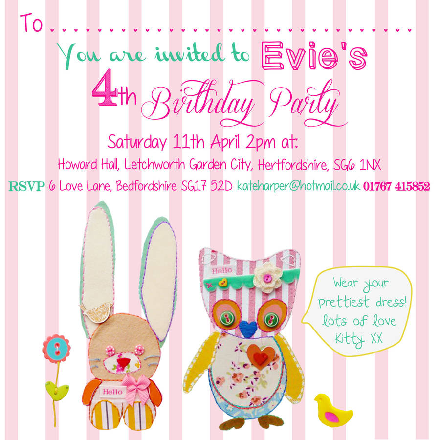 little girl birthday party invitations by buttongirl designs ...