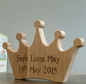 Personalised Child's Oak Wooden Crown Keepsake - decorative accessories