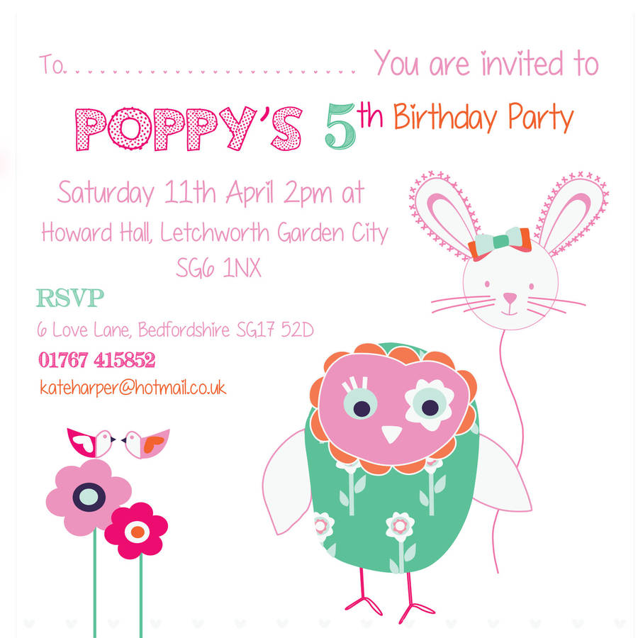 owl and bunny girlie birthday party invitations by buttongirl ...