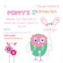 Owl And Bunny Girlie Birthday Party Invitations