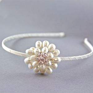 Freshwater Pearl Side Flower Hair Band - bridal accessories