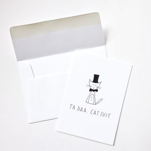Hand Illustrated 'Taa Daa Cat Suit' Card