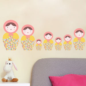 Babushka Matryoshka Dolls Pk1 Fabric Wall Stickers - wall stickers