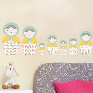 Babushka Matryoshka Dolls Pk2 Fabric Wall Stickers - wall stickers