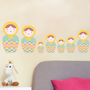 Babushka Matryoshka Dolls Pk3 Fabric Wall Stickers - wall stickers