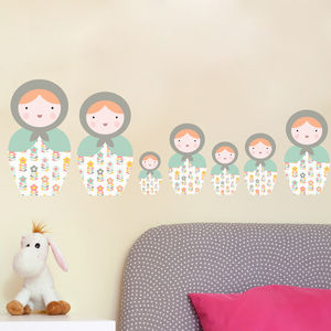 Babushka Matryoshka Dolls Pk4 Fabric Wall Stickers - wall stickers