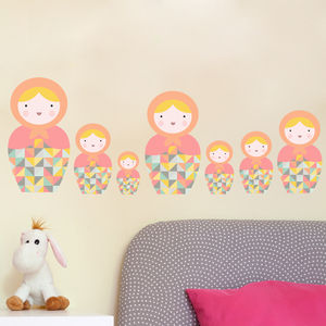 Babushka Matryoshka Dolls Pk5 Fabric Wall Stickers