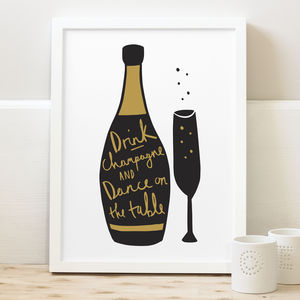 Drink Champagne Print - new years eve entertaining