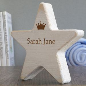 Personalised Children's Name Wooden Star With Crown