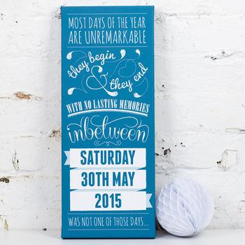Canvas - Aqua - Personalised Special Date Art Print