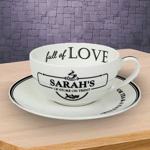Full Of Love Personalised Cup And Saucer - kitchen