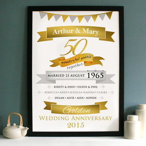 Personalised Golden Anniversary Typographic Art - canvas prints & art