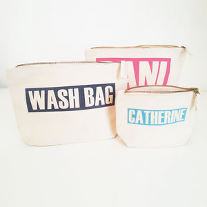 Cosmetic / Toiletry Bag 'Personalised Name/Text' - make-up & wash bags