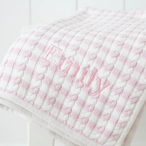 Personalised Pink Stripe Cable - blankets, comforters & throws