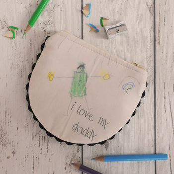 Personalised Child's Drawing Daddy Coin Purse