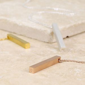 Personalised Bar Necklace With Secret Initial