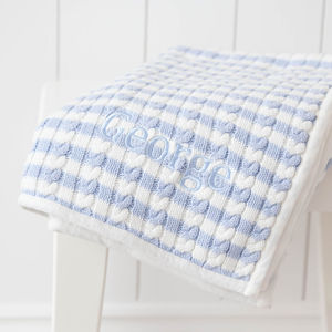 Personalised Blue Stripe Cable - bedding & accessories