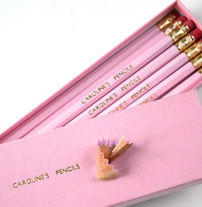 Personalised Pink And Gold Gift Boxed Pencils - wedding favours