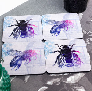 Vintage Decoupage Bumblebee Coasters Set Of Four