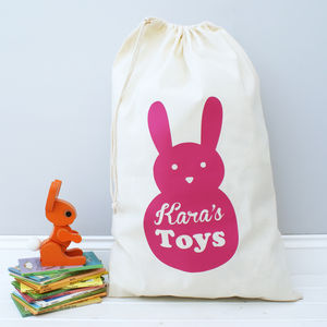Personalised Bunny Rabbit Toy Bag - easter homeware
