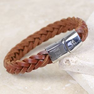 Engraved Men's Woven Leather Bracelet