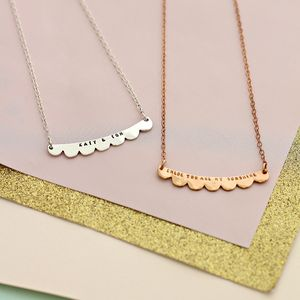 Personalised Scalloped Curve Necklace - wedding jewellery