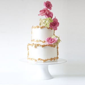 Scrolls And Roses Wedding Cake - rustic wedding