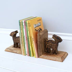 Wooden Fawn Bookends