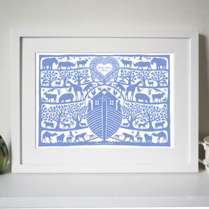 Personalised Noah's Ark Tree Heart Print - baby's room