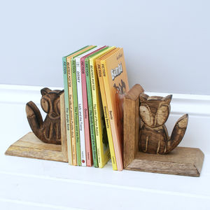 Wooden Fox Bookends - decorative accessories