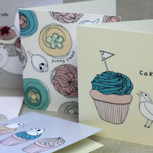 Bird And Cupcake Note Cards Set Of Five
