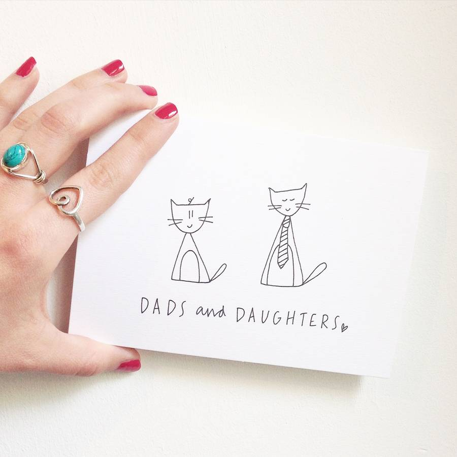 Hand Illustrated Fathers Day Card Dads And Daughters By Linseymouse