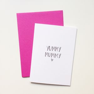 Hand Lettered 'Yummy Mummy' Card
