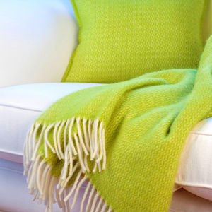 Lime Green Wool Throw And Cushion Cover - bedroom