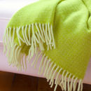 Lime Green Wool Throw And Cushion Cover