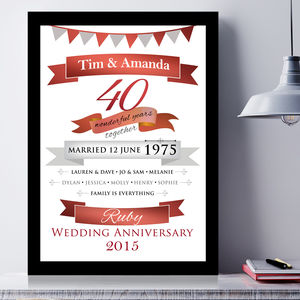 Personalised Ruby Anniversary Typographic Art - canvas prints & art