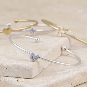 Engraved Delicate Heart Or Star Bangle
