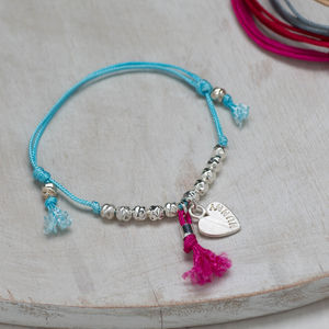 Personalised Heart Beaded Friendship Bracelet