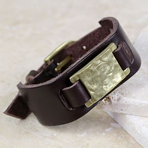 Personalised Men's Brown Leather Cuff Bracelet