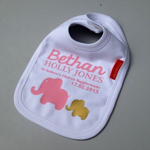 Personalised Baby Girl Christening Bib