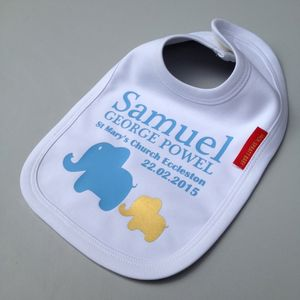 Personalised Baby Boy Christening Bib - favourites