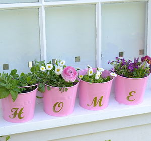 Personalised Pink And Gold Script Buckets - outdoor decorations