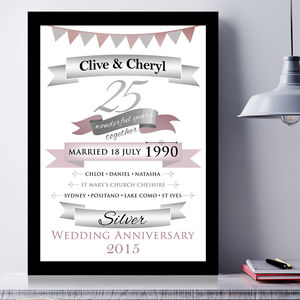 Personalised Silver Anniversary Typographic Art - posters & prints