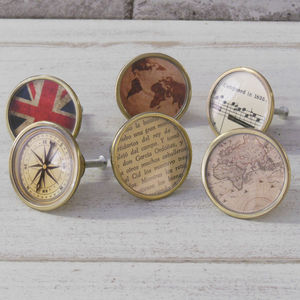 Vintage Style Maps Compass Cupboard Knobs - shop by price