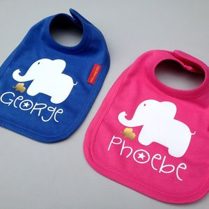 Baby Elephant Name Bib
