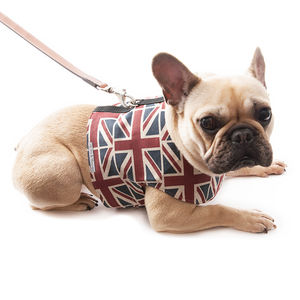 Union Jack Linen Dog Harness - pet leads & harnesses
