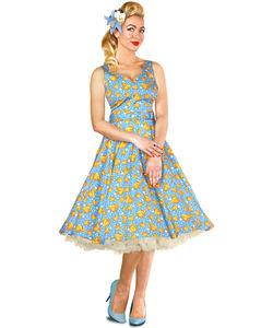 Vintage Style Birds Blue Swing Dress - women's fashion