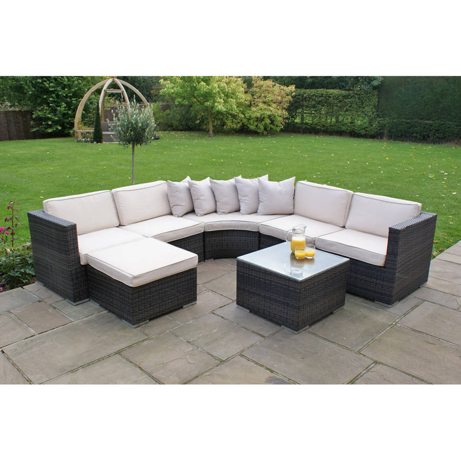 curved corner sofa set in brown or grey by out there exteriors notonthehighstreet