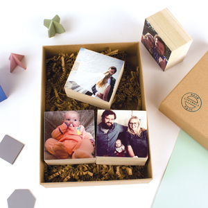 Set Of Four Wood Print Photo Blocks