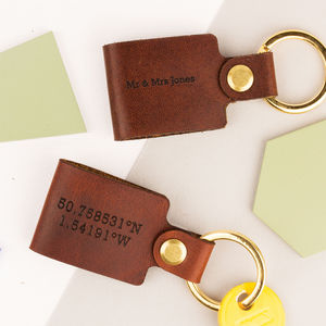 Leather Coordinate Keyring - personalised